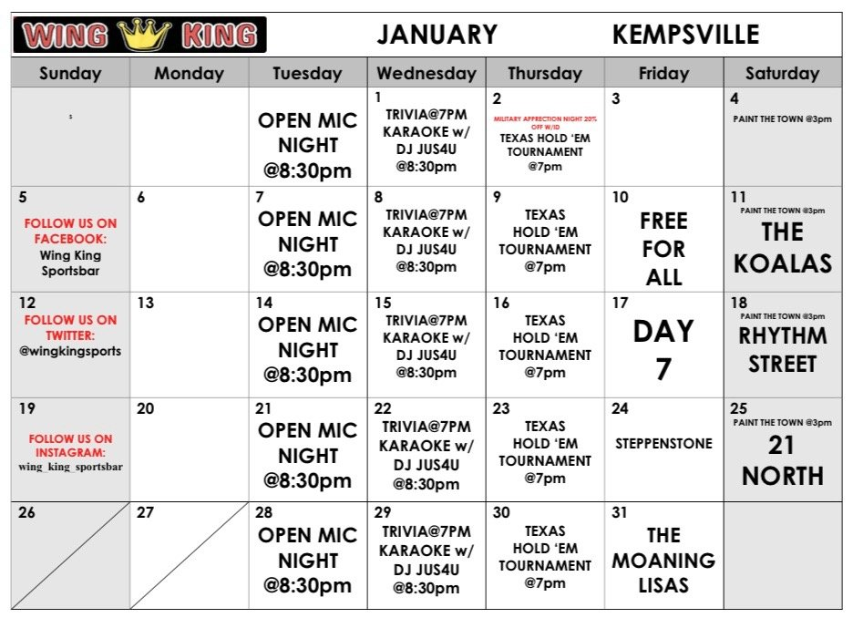 Kempsville January Calendar
